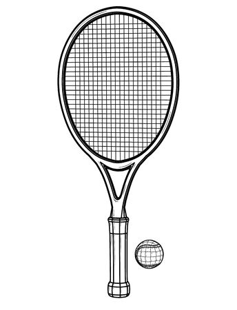 One tennis racket and ball. Banco de Imagens - 129642508