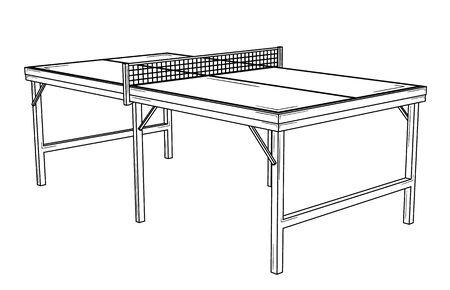 Empty table for table tennis  ready to match. Ilustração