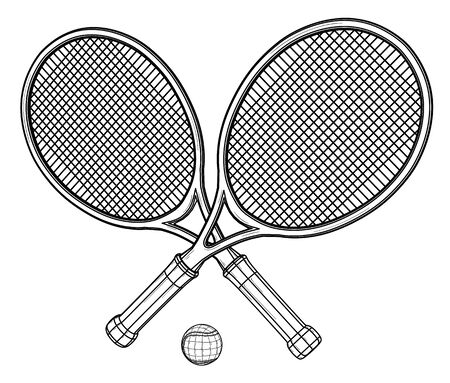 Two tennis rackets and ball.