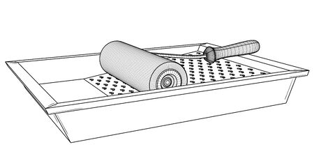 Painting roller with empty paint tray. Black outline illustration on white background. Sketch.