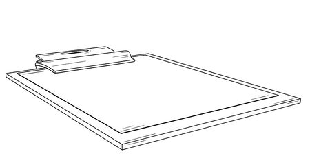 Writing pad with metal clip and blank paper. Black outline illustration on white background. Sketch.