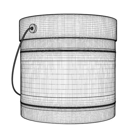 Closed tin can with color for wall painting. Black outline illustration on white background. Sketch. Archivio Fotografico - 131491104