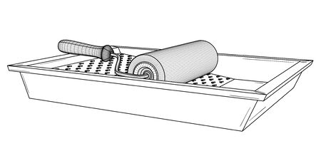 Painting roller with empty paint tray. Black outline illustration on white background. Sketch. Standard-Bild - 131490098