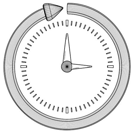 Arrow and clock as a symbol of progress. Black outline illustration on white background. Sketch. 向量圖像
