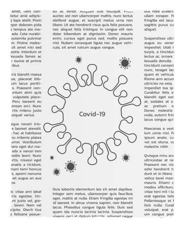 Newspapers with lorem ipsum text and coronavirus sign with text COVID-19.