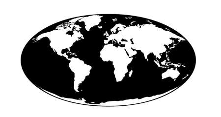 Simplified oval world map illustration with main large territories of the world. Ilustración de vector