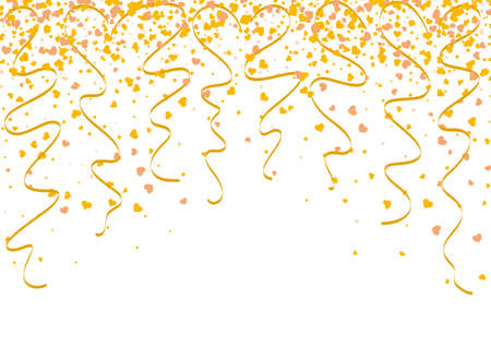 Falling gold confetti with heart shape and twisted ribbons as a symbol of celebration and anniversary events. Background wallpaper for christmas or celebration events.
