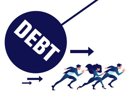 Businessman run away from heavy debt ball. Çizim