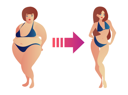 Illustration of a fat and slim woman figure. Before and after weight loss