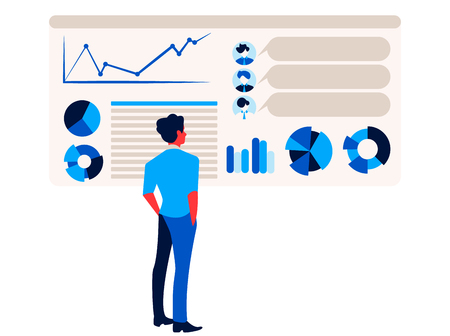 Businessman is looking at report infographics on the office chart board graph and diagram.