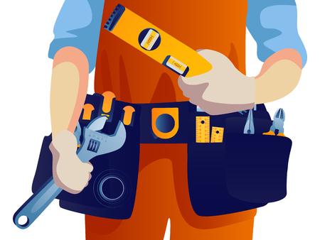 Bauarbeiter mit Werkzeuggürtel für Banner-Website. Vektorgrafik