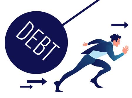 Businessman run away from heavy debt ball.
