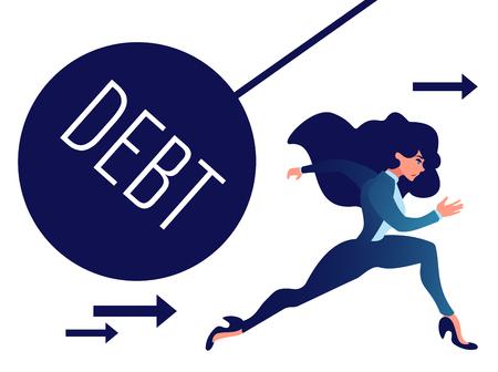 Businesswoman run away from heavy debt ball. Çizim