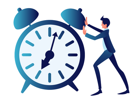 Overtime, ambiguous, time management. Abstract concept, a businessman is pushing a clock. In minimalist style. 일러스트