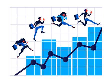 Business people on arrow staircase, Businessman walks on graphs to success.