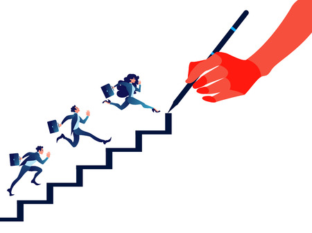 Manager drawing stairs for business people. Staircase concept.
