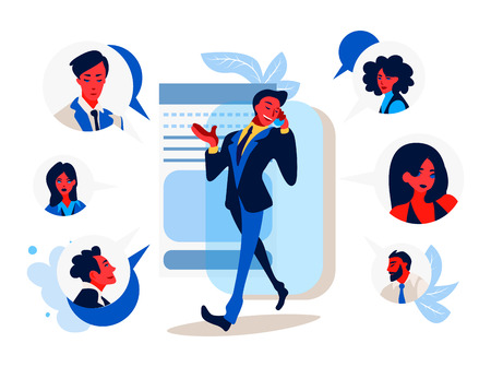 Business communication - flat design style illustration. Businessman talking on the phone with colleagues, partners.