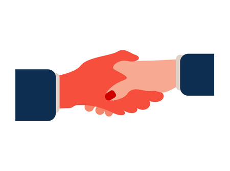 Business woman shaking hand of partner as symbol of close a deal or partnership, friendship and trust.