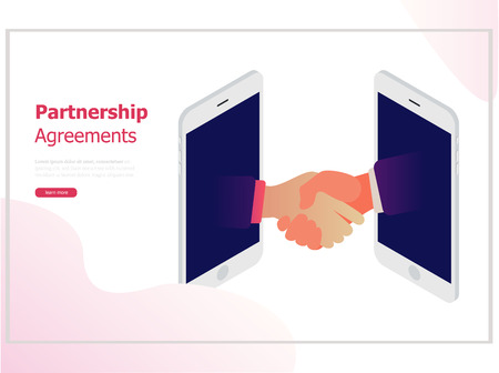 Agreement together with smartphone technology. Flat design, background for business and finance,.
