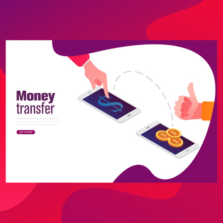 Send money low-cost fee flat vector neon illustration for ui ux web and mobile design with text and button.