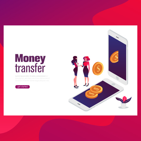 Money transfer concept. Can use for web banner, infographics, hero images. Flat isometric vector illustration Stock Illustratie