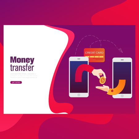 People sending and receiving money wireless with mobile devices. Flat style concept vector illustration