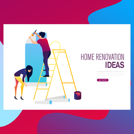 Home makeover and renovation: young happy couple painting their new house interiors using paint rollers Illustration