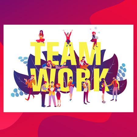 Teamwork concept banner. Can use for web banner, infographics, hero images. Ilustração