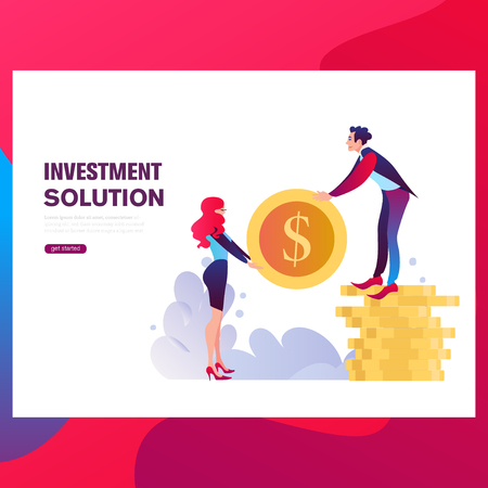 Businessmen insure their assets, investments and shares, shield. Template Landing page