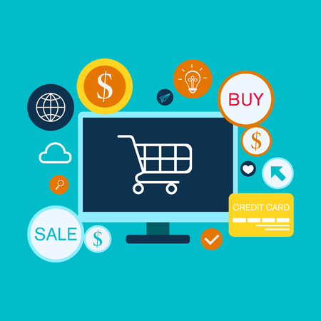 Flaches Konzept-Vektorbild des Online-Shoppings. Konzept Geschäftsstrategie Vektorgrafik