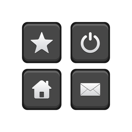 Star, Power, Home and Email Square buttons Stock Vector - 19001002