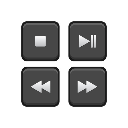 input device: Stop, Play, Pause, Next and Back Square Buttons
