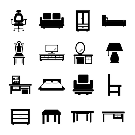 household objects equipment: Furniture Icon Illustration