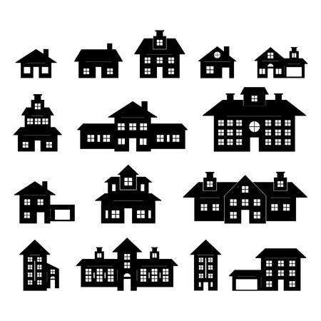 condominium: House set Black and White Illustration