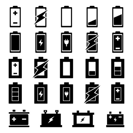 Battery Icon set voor uw ontwerp Stock Illustratie