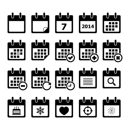 time of the day: Calendar icon set for your design Illustration