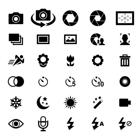digital camera: Camera Icon set for your design Illustration