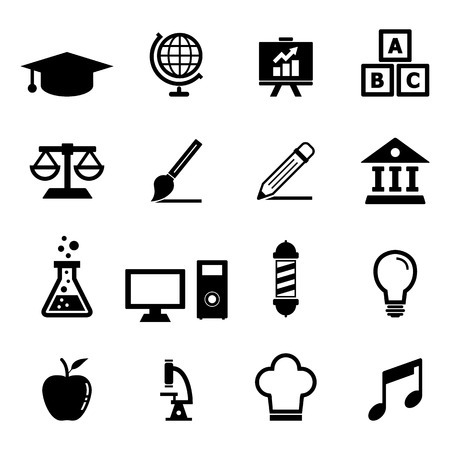 college students on campus: Education Icon set Illustration
