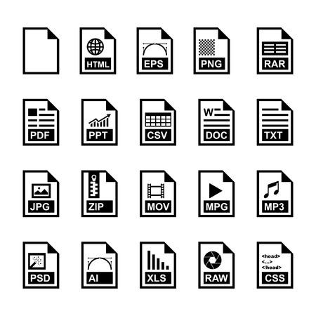 mov: File Icon set Illustration