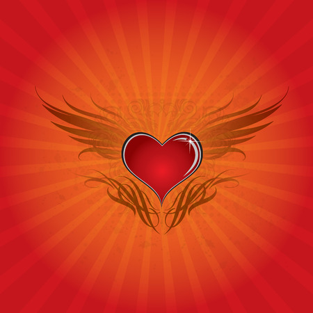 winged: Heart wing background Illustration