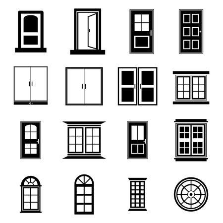 open air: Door and window vector set
