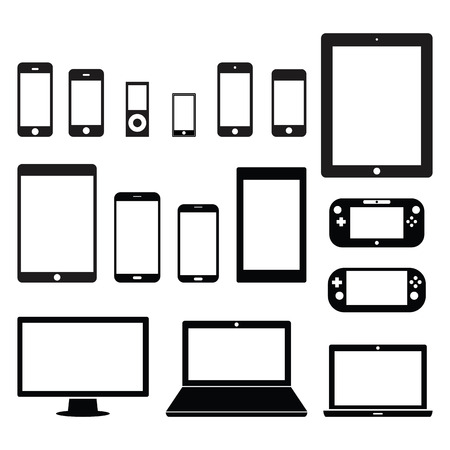 phone icon: Electronic device set Illustration