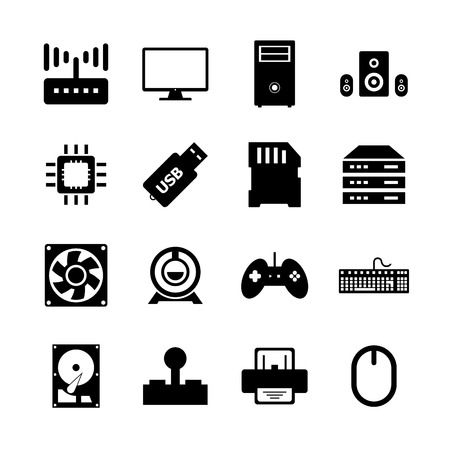lcd monitor printer: Computer hardware icon Illustration