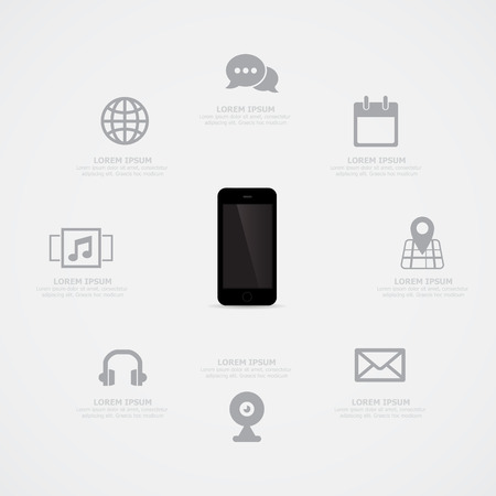 palmtop: Mobile phone Information Vector