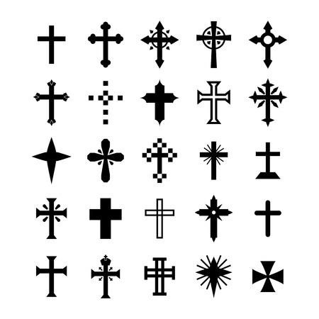 cruz de jesus: Conjunto de símbolos de la Cruz Vectores