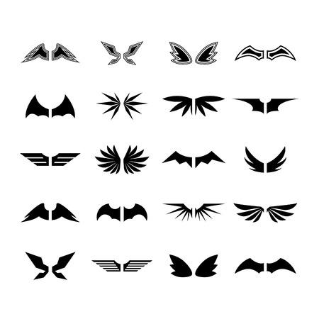 Conjunto Ala vectorial Ilustración de vector