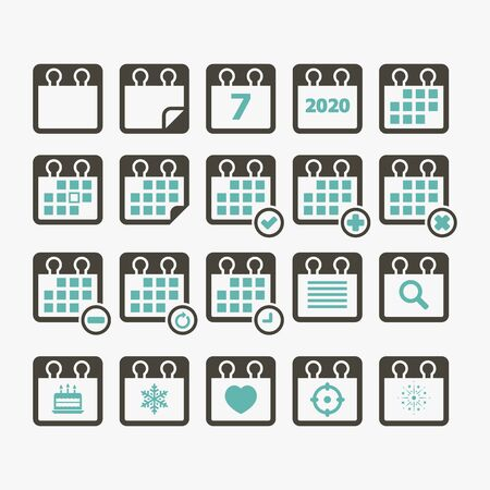 Calendar icon set 2020 for your design Ilustracja