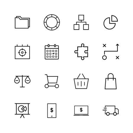 Business line icon design set Illustration