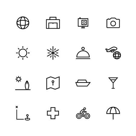Travel line icon set design
