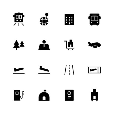 Travel solid icon design set